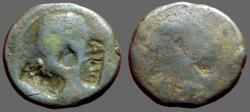 Ancient Coins - Augustus AE25 Moneyer's as.  Worn with TI-CA, AVG countermark