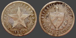 World Coins - Cuba AR23 (20)Centavos.  1920.  Coat of arms w. liberty cap / 5 point radiate start