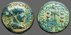 Ancient Coins - Volusian Æ22  Pisidia, Antioch.  Legionary eagle between two standards.