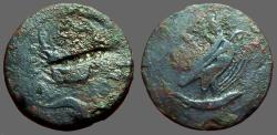 Ancient Coins - Sicily. Akragas. AE27 Hemilitron.  Eagle w. snake / Crab