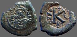 Ancient Coins - Maurice Tiberius AE23 1/2 Follis, Constantinople. Year 5.