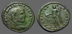 Ancient Coins - Galerius AE26 Follis GENIO POPULI ROMANI. Genius w. thunderbolt & cornucopia