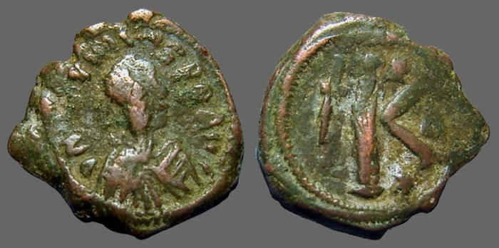 Ancient Coins - Justin I AE26 1/2 follis, Constantinople.  sb#69.