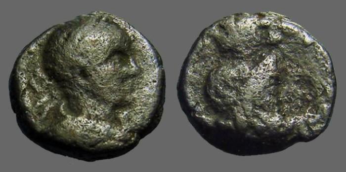 Ancient Coins - Caracalla AE18 Caesarea.  Hd. of Sarapis w. modius