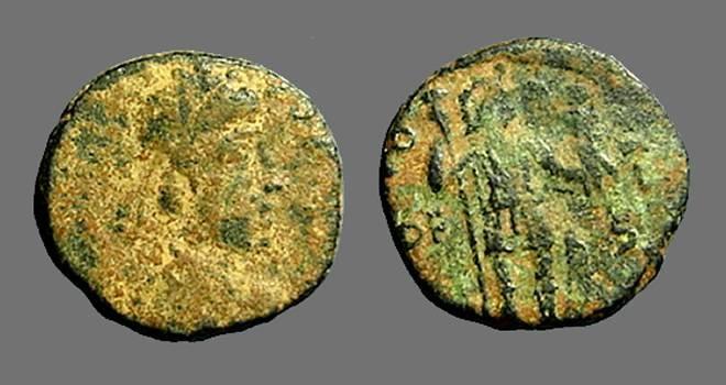 Ancient Coins - Honorius AE3 (14mm) VRBS ROMA FELIX S#4257.  Antioch, Turkey