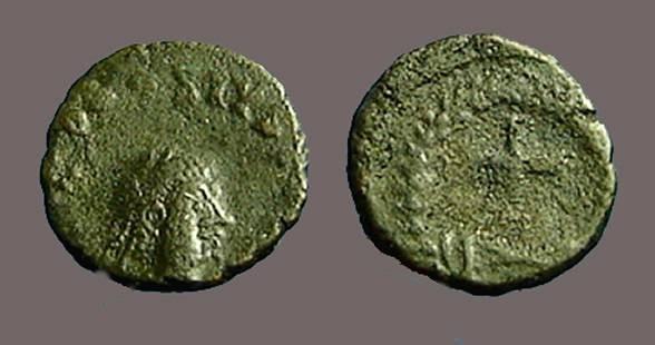 Ancient Coins - Theodosius II AE4  Nummus.  Short Cross in wreath.