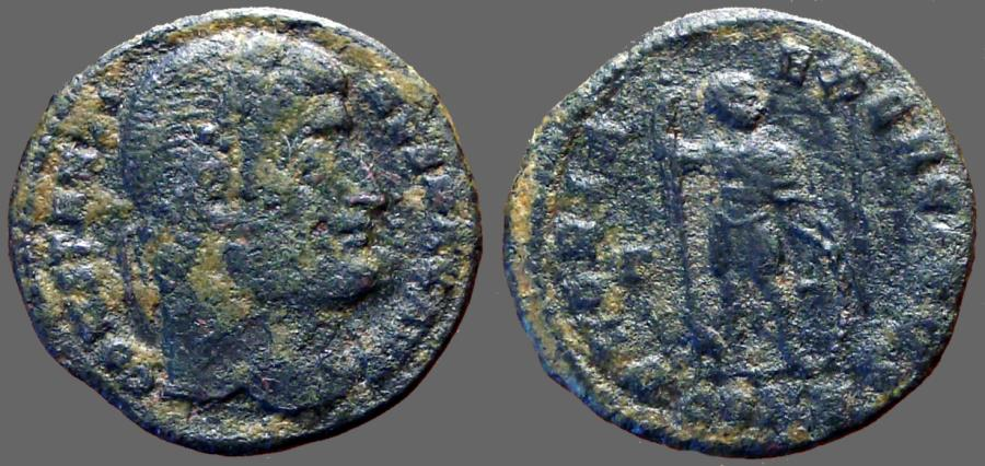 Ancient Coins - Constantine the Great AE3 Soldier w. inverted spear & shield.
