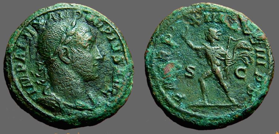 Ancient Coins - Severus Alexander, AE As.  Sol walking w. whip, raises right hand