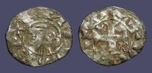 Ancient Coins - Alfonso VIII billon dinero. Cross.  Bust left / Short Cross