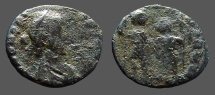 Ancient Coins - Honorius AE3 (14mm) Honorius & Theodosius hold globe between them.