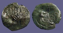 Ancient Coins - Bulgaria. Ivan and Theodora AE18 trachy. Standing either side of cross / Tree of Life