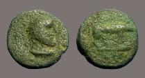 Ancient Coins - Trajan AE Quadrans Bust of Hercules / Boar rt.  Imitative