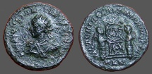 Ancient Coins - Constantine II, AE3  small radiate bust left / Victoires inscribing shield VOT / PR.  London