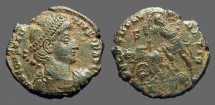 Ancient Coins - Constantius II AE Centionalis, Soldier spearing fallen horseman,  Antioch, Turkey.