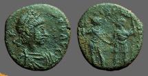 Ancient Coins - Honorius AE3 Honorius & Theodosius hold globe between them
