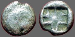 Ancient Coins - Mysia, Parion AR Drachm. Gorgon facing w. protruding tongue / Incuse pattern