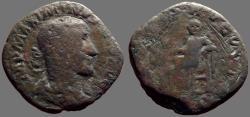Ancient Coins - Maximinus I AE30 Sestertius.  Salus but tooled.  Rome
