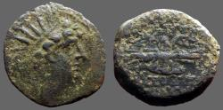 Ancient Coins - Seleukid Antiochos VI AE20.  Filleted thunderbolt