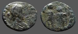 Ancient Coins - Honorius AE3 (14mm) Honorius & Theodosius hold globe between them.