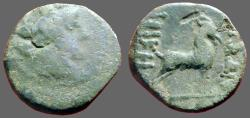 Ancient Coins - Macedon, Thessalonica AE17 Dionysos / Goat rt.
