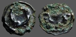 Ancient Coins - Celtic Gaul AE18 cast Potin unit.  Wreath / Cornucopia or horns