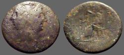Ancient Coins - Bruttium, Rhegion AE27 Pentonkion.  Janiform female head / Asklepios seated