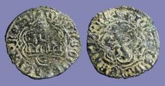 Ancient Coins - Enrique III billon 24mm blanca (2 Cornados) 3 towered castle / Lion rampant left.