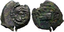 Ancient Coins - Herod Archelaus  AE13 Prutah.  Galley prow / EΘN in wreath