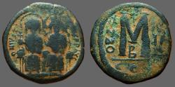 Ancient Coins - Justin II & Sophia AE25 Follis.  Constantinople.  year II