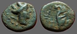 Ancient Coins - Phoenicia, Arados, AE14 Hd. of City Goddess / Aplustre.