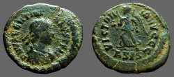Ancient Coins - Valentinian II AE4 Victory advancing, Siscia mint.
