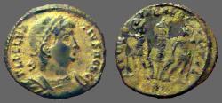 Ancient Coins - Delmatius AE3 GLORIA EXERCITVS 2 soldiers, 1 Standard.  Antioch