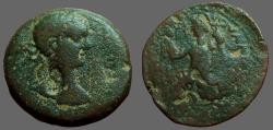 Ancient Coins - Domitian AE24 Samaria, Sebaste.  Tyche seated left. countermarks