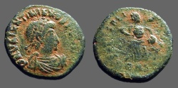Ancient Coins - Valentinian II AE4 Victory dragging captive. Antioch, Turkey