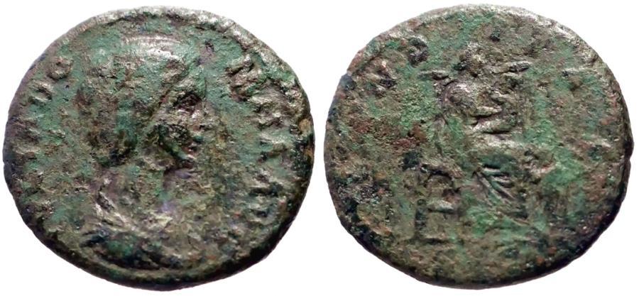 Ancient Coins - Julia Domna AE23 Dupondius. Fecunditas breastfeeding child