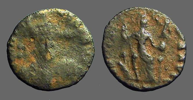 Ancient Coins - Theodosius II AE3 Military facing bust / Constantinopolis seated, holds small Victory.