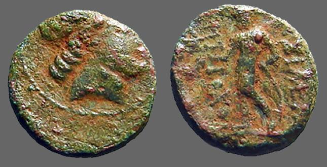 Ancient Coins - Antiochus III AE14 Hd of Apollo / Apollo standing left, holds arrow and bow.