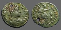 Ancient Coins - Gratian AE3  Constantinopolis seated w. globe & Spear.  Antioch.