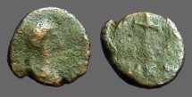 Ancient Coins - very late Roman AE4 cross w. text around