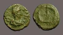 Ancient Coins - Honorius AE4  Cross in wreath.  Constantinople.