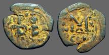 Ancient Coins - Heraclius & Heraclius Constantine AE26 follis.  Constantinople.