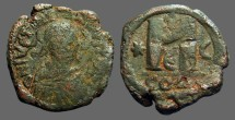 Ancient Coins - Justin I AE30 Follis.  Constantinople.  crescent.