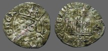 Ancient Coins - Alfonso XI 18mm Cornado Crowned bust of Alfonso / 3 towered Castle