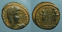 Ancient Coins - Constantius II AE3 Soldiers on either side of standard