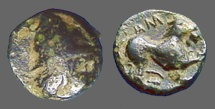 Ancient Coins - Greek AE10 Hd of Kaberos w. pileos rt / Lion.  'AM' above