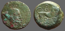 Ancient Coins - Sicily, Segesta. Anonymous AE19 hexas Nymph / Hound