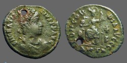 Ancient Coins - Gratian AE3  Constantinopolis seated w. globe & Spear.  Antioch.