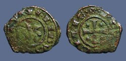 World Coins - Sicily billon denaro 16mm Manfred I / Cross w. star in each quartile