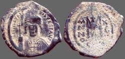 Ancient Coins - Maurice Tiberius AE29 Follis  Constantinople. year 15