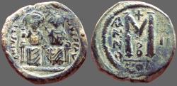 Ancient Coins - Justin II & Sophia AE28 Follis.  Constantinople. year 2.  officiana B